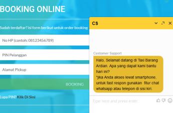 Booking dan Chat Online di Web Taxi Barang