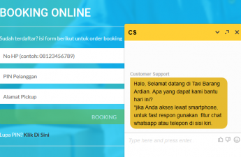 Booking dan Chat Online di Web Taxi Barang
